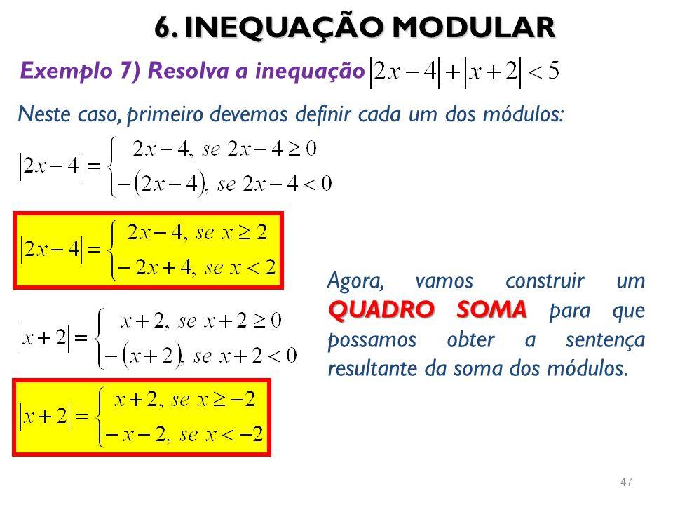 6. INEQUAÇÃO MODULAR 47 Exemplo 7) Resolva a inequação Neste caso, primeiro devemos definir cada um dos módulos: QUADRO SOMA Agora, vamos construir um