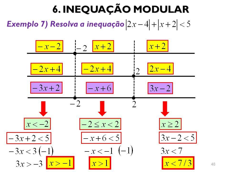 6. INEQUAÇÃO MODULAR 48 Exemplo 7) Resolva a inequação