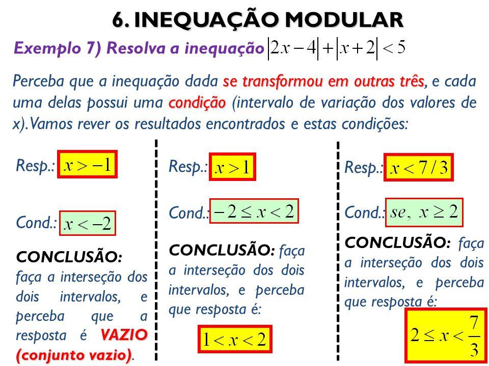 6. INEQUAÇÃO MODULAR 49 se transformou em outras três condição Perceba que a inequação dada se transformou em outras três, e cada uma delas possui uma