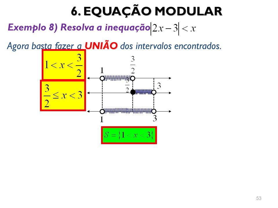 6. EQUAÇÃO MODULAR 53 UNIÃO Agora basta fazer a UNIÃO dos intervalos encontrados. Exemplo 8) Resolva a inequação