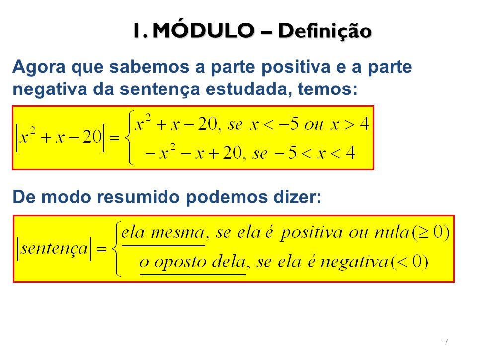 1. MÓDULO – Definição Agora que sabemos a parte positiva e a parte negativa da sentença estudada, temos: De modo resumido podemos dizer: 7