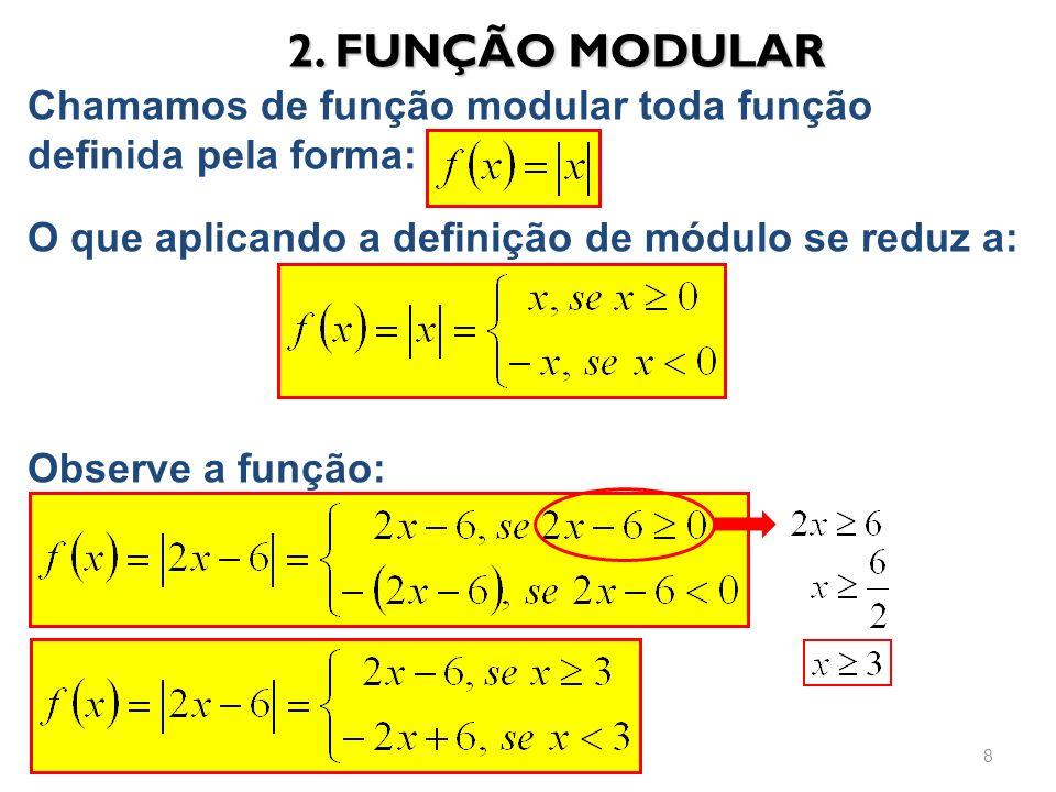 2. FUNÇÃO MODULAR Chamamos de função modular toda função definida pela forma: O que aplicando a definição de módulo se reduz a: Observe a função: 8