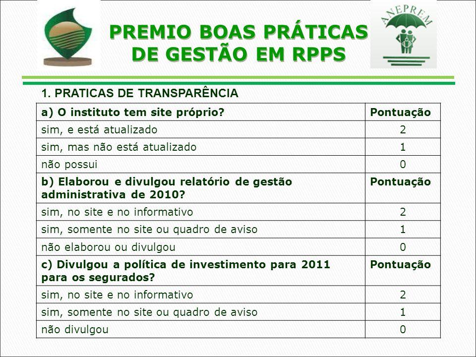 a) O instituto tem site próprio Pontuação sim, e está atualizado2 sim, mas não está atualizado1 não possui0 b) Elaborou e divulgou relatório de gestão administrativa de 2010.