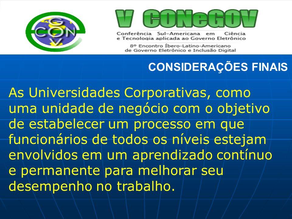 CONSIDERAÇÕES FINAIS As Universidades Corporativas, como uma unidade de negócio com o objetivo de estabelecer um processo em que funcionários de todos