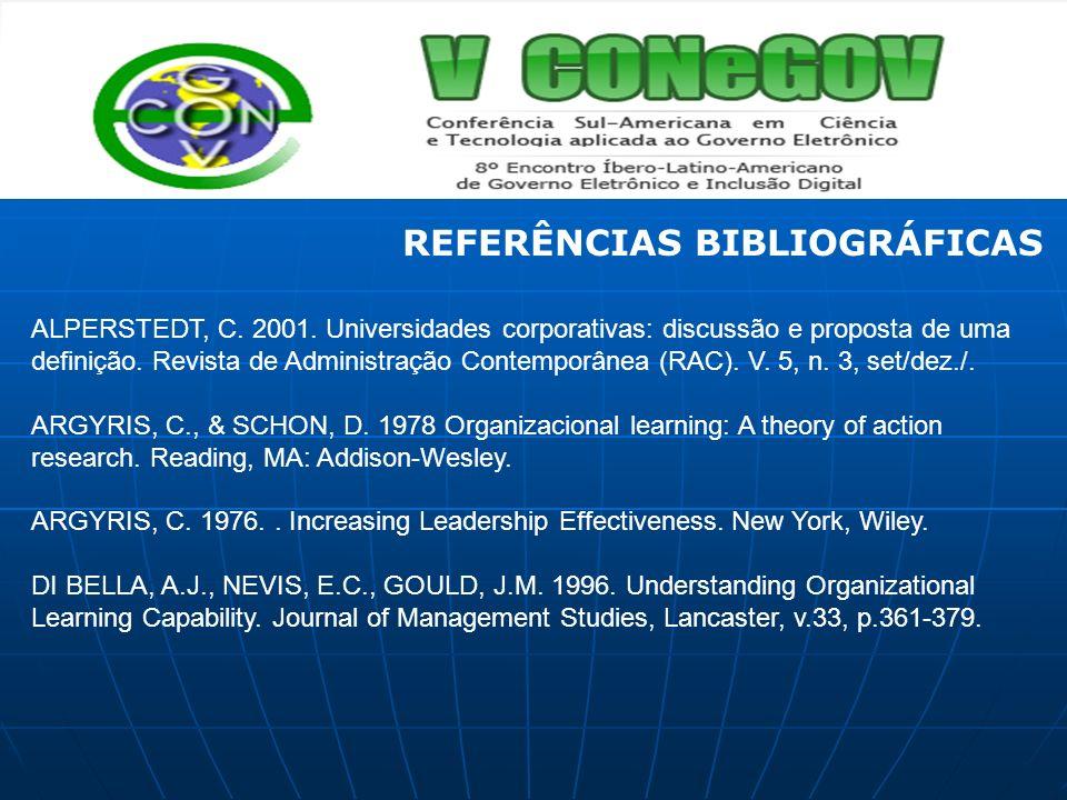 REFERÊNCIAS BIBLIOGRÁFICAS ALPERSTEDT, C. 2001. Universidades corporativas: discussão e proposta de uma definição. Revista de Administração Contemporâ