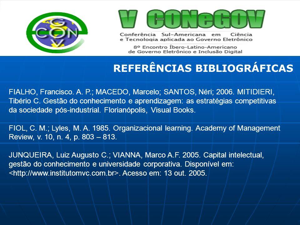 FIALHO, Francisco. A. P.; MACEDO, Marcelo; SANTOS, Néri; 2006. MITIDIERI, Tibério C. Gestão do conhecimento e aprendizagem: as estratégias competitiva