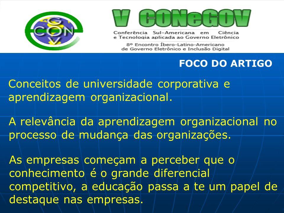 Conceitos de universidade corporativa e aprendizagem organizacional. A relevância da aprendizagem organizacional no processo de mudança das organizaçõ