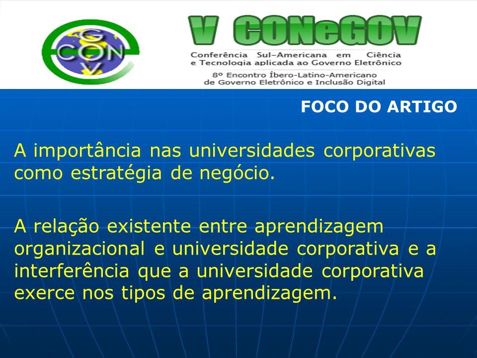 A importância nas universidades corporativas como estratégia de negócio. A relação existente entre aprendizagem organizacional e universidade corporat