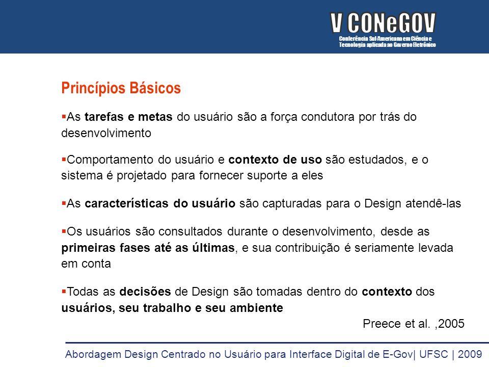 Princípios Básicos As tarefas e metas do usuário são a força condutora por trás do desenvolvimento Comportamento do usuário e contexto de uso são estu