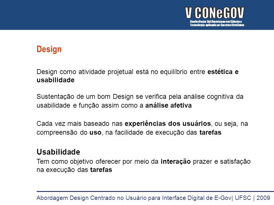 Design Design como atividade projetual está no equilíbrio entre estética e usabilidade Sustentação de um bom Design se verifica pela análise cognitiva