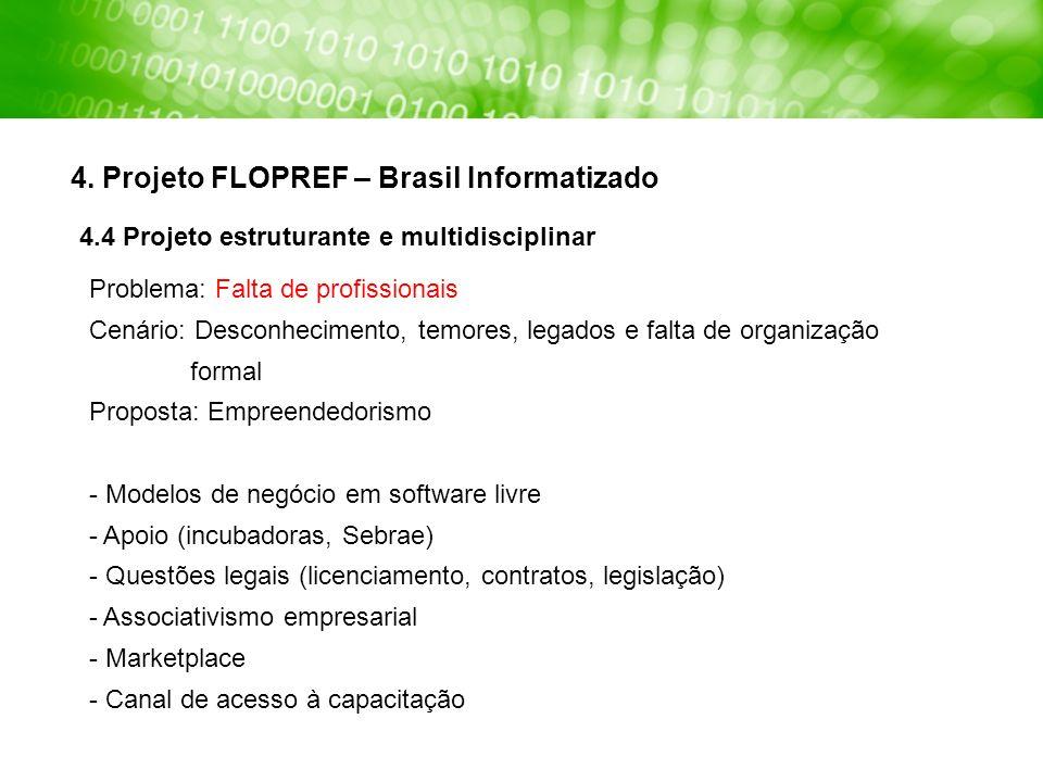 4. Projeto FLOPREF – Brasil Informatizado Problema: Falta de profissionais Cenário: Desconhecimento, temores, legados e falta de organização formal Pr