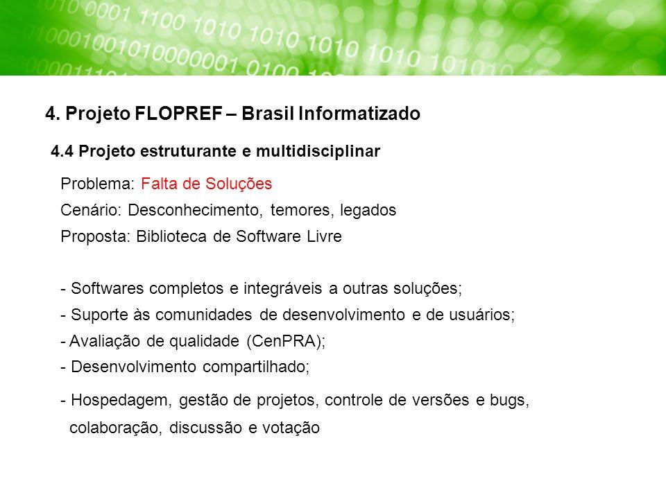 4. Projeto FLOPREF – Brasil Informatizado Problema: Falta de Soluções Cenário: Desconhecimento, temores, legados Proposta: Biblioteca de Software Livr