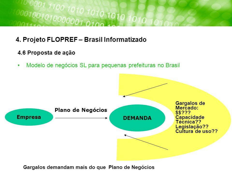 4. Projeto FLOPREF – Brasil Informatizado 4.6 Proposta de ação Modelo de negócios SL para pequenas prefeituras no Brasil Gargalos demandam mais do que