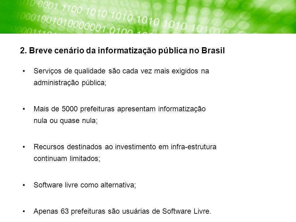2. Breve cenário da informatização pública no Brasil Serviços de qualidade são cada vez mais exigidos na administração pública; Mais de 5000 prefeitur