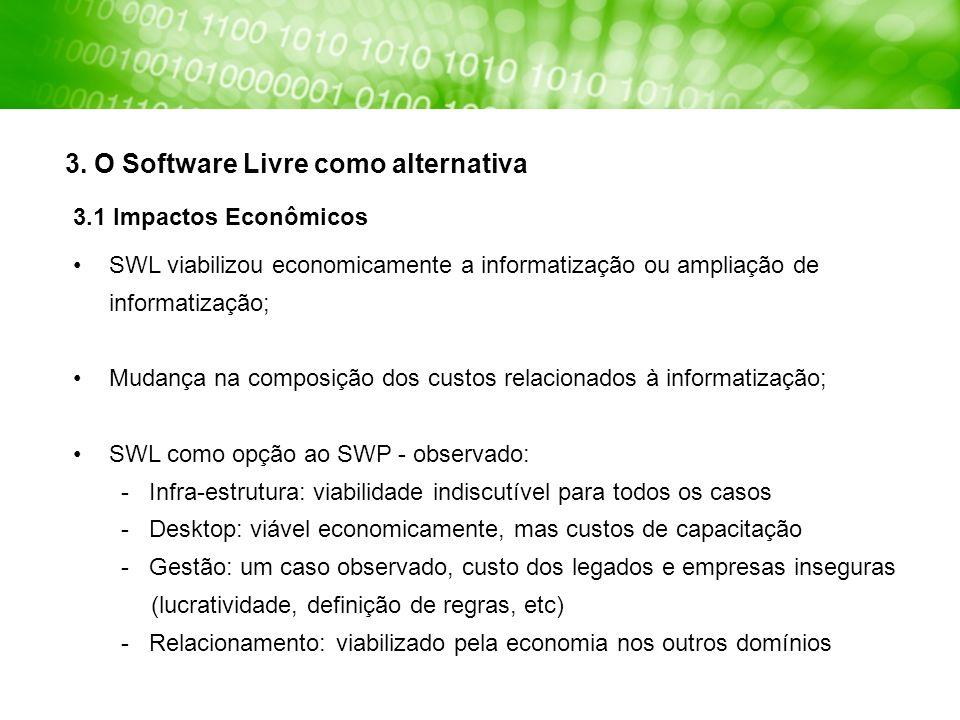 SWL viabilizou economicamente a informatização ou ampliação de informatização; Mudança na composição dos custos relacionados à informatização; SWL com