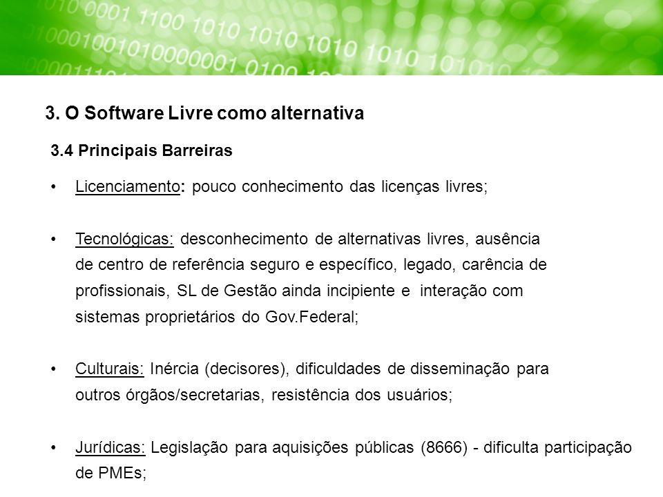 Licenciamento: pouco conhecimento das licenças livres; Tecnológicas: desconhecimento de alternativas livres, ausência de centro de referência seguro e