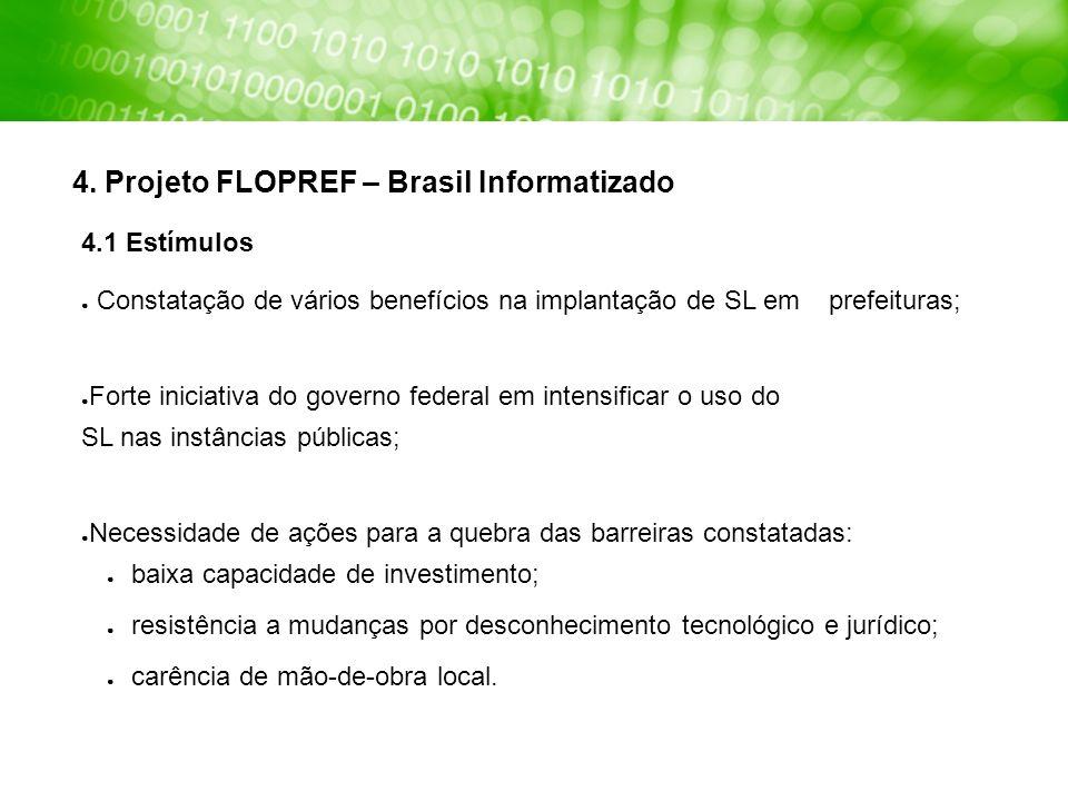 4. Projeto FLOPREF – Brasil Informatizado 4.1 Estímulos Constatação de vários benefícios na implantação de SL em prefeituras; Forte iniciativa do gove