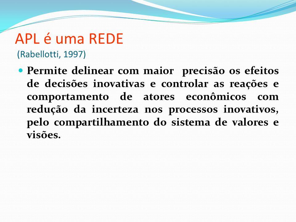 APL é uma REDE (Rabellotti, 1997) Permite delinear com maior precisão os efeitos de decisões inovativas e controlar as reações e comportamento de atores econômicos com redução da incerteza nos processos inovativos, pelo compartilhamento do sistema de valores e visões.