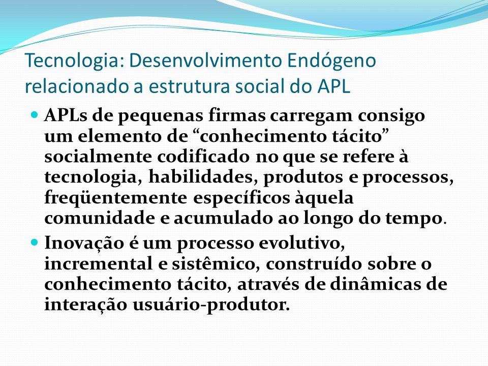 Tecnologia: Desenvolvimento Endógeno relacionado a estrutura social do APL APLs de pequenas firmas carregam consigo um elemento de conhecimento tácito socialmente codificado no que se refere à tecnologia, habilidades, produtos e processos, freqüentemente específicos àquela comunidade e acumulado ao longo do tempo.
