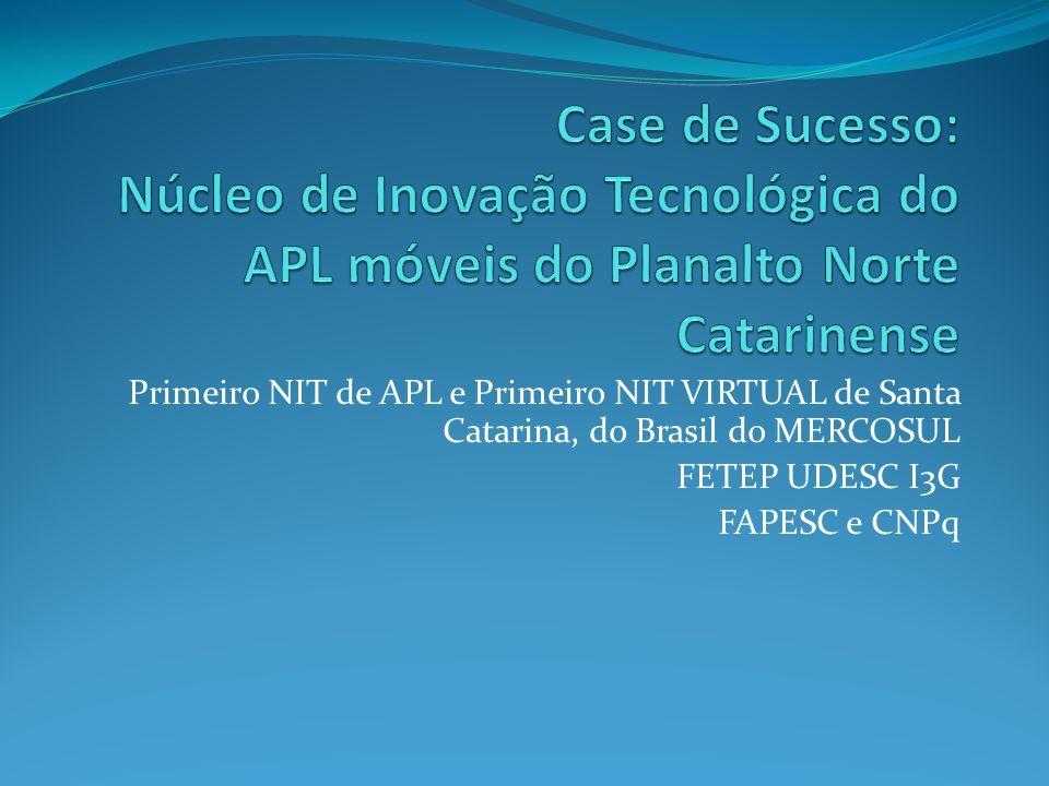 Primeiro NIT de APL e Primeiro NIT VIRTUAL de Santa Catarina, do Brasil do MERCOSUL FETEP UDESC I3G FAPESC e CNPq