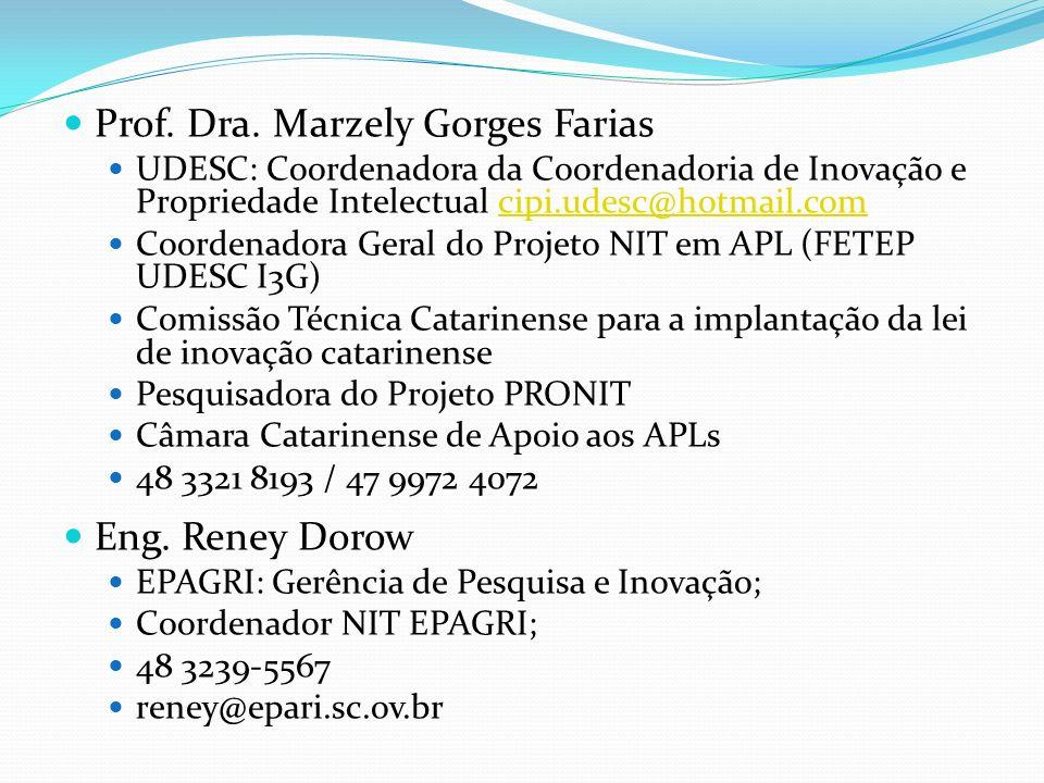 Prof. Dra. Marzely Gorges Farias UDESC: Coordenadora da Coordenadoria de Inovação e Propriedade Intelectual cipi.udesc@hotmail.comcipi.udesc@hotmail.c