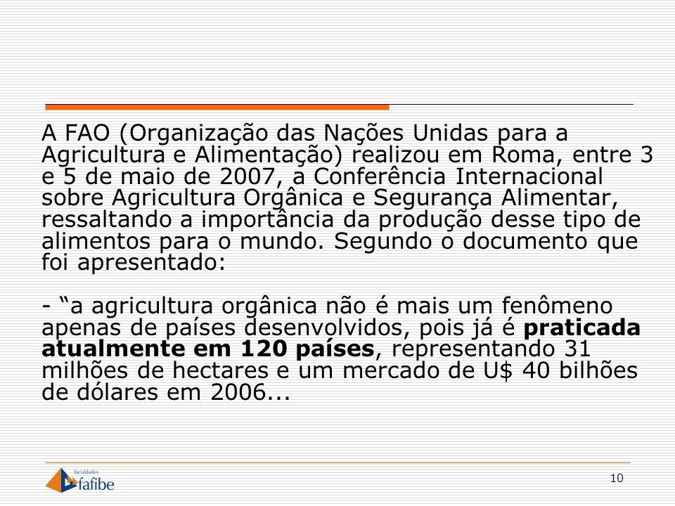 10 A FAO (Organização das Nações Unidas para a Agricultura e Alimentação) realizou em Roma, entre 3 e 5 de maio de 2007, a Conferência Internacional s