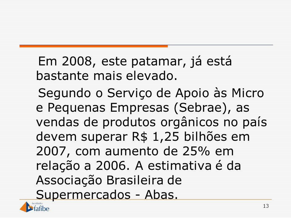 13 Em 2008, este patamar, já está bastante mais elevado. Segundo o Serviço de Apoio às Micro e Pequenas Empresas (Sebrae), as vendas de produtos orgân