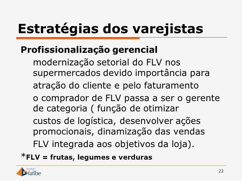22 Estratégias dos varejistas Profissionalização gerencial modernização setorial do FLV nos supermercados devido importância para atração do cliente e