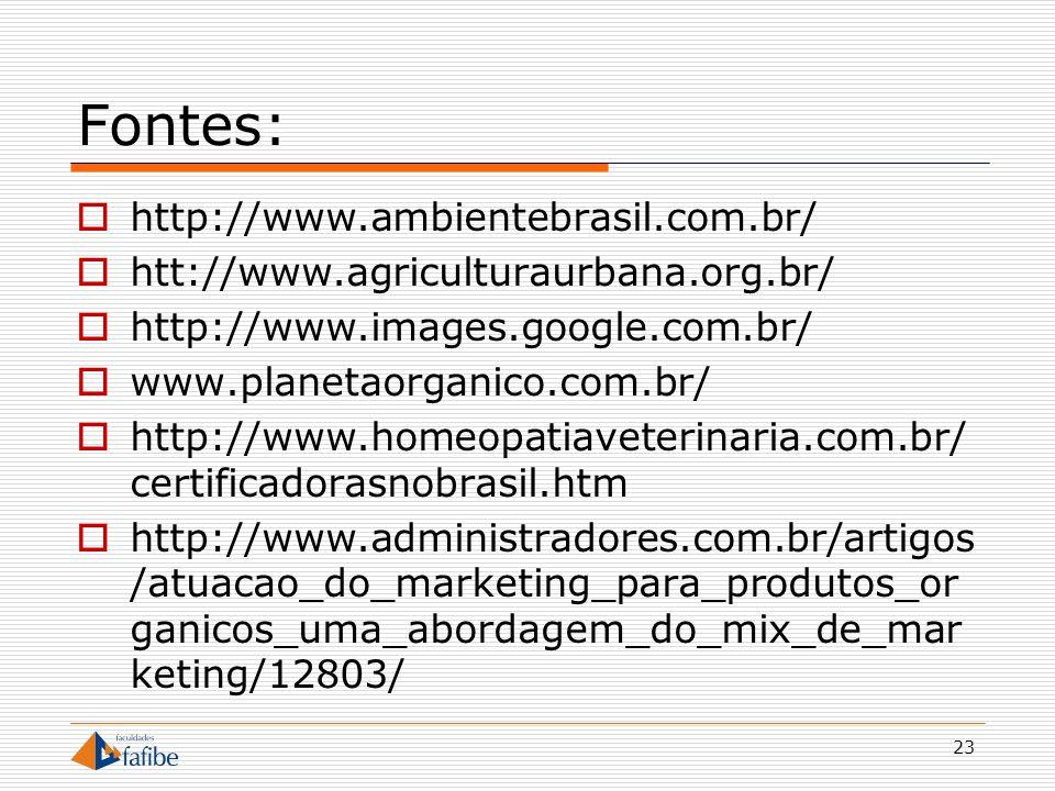 23 Fontes: http://www.ambientebrasil.com.br/ htt://www.agriculturaurbana.org.br/ http://www.images.google.com.br/ www.planetaorganico.com.br/ http://w