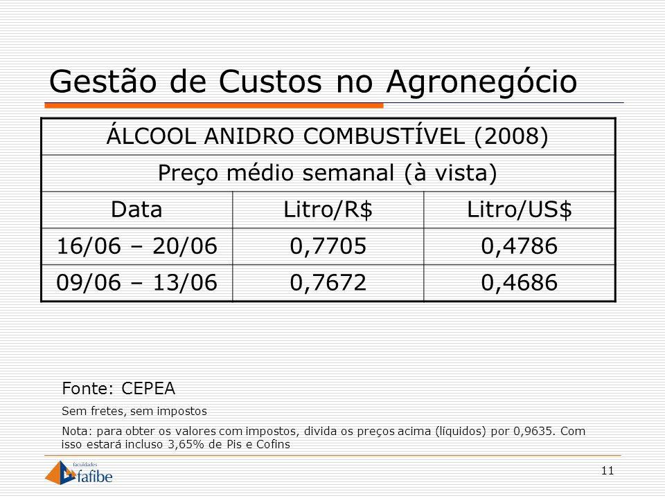 11 Gestão de Custos no Agronegócio ÁLCOOL ANIDRO COMBUSTÍVEL (2008) Preço médio semanal (à vista) DataLitro/R$Litro/US$ 16/06 – 20/060,77050,4786 09/0