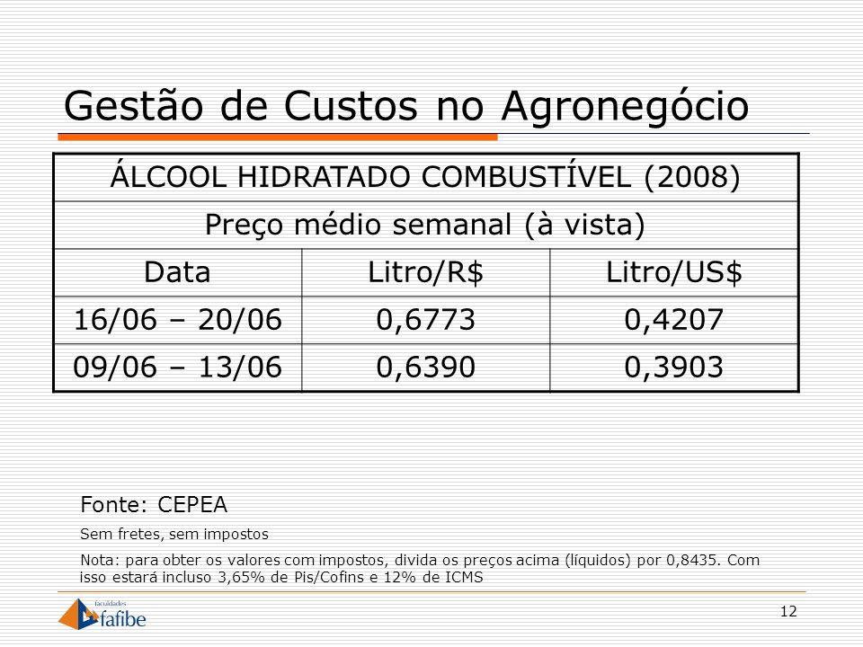 12 Gestão de Custos no Agronegócio ÁLCOOL HIDRATADO COMBUSTÍVEL (2008) Preço médio semanal (à vista) DataLitro/R$Litro/US$ 16/06 – 20/060,67730,4207 0