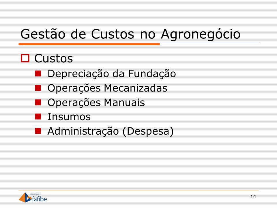 14 Gestão de Custos no Agronegócio Custos Depreciação da Fundação Operações Mecanizadas Operações Manuais Insumos Administração (Despesa)