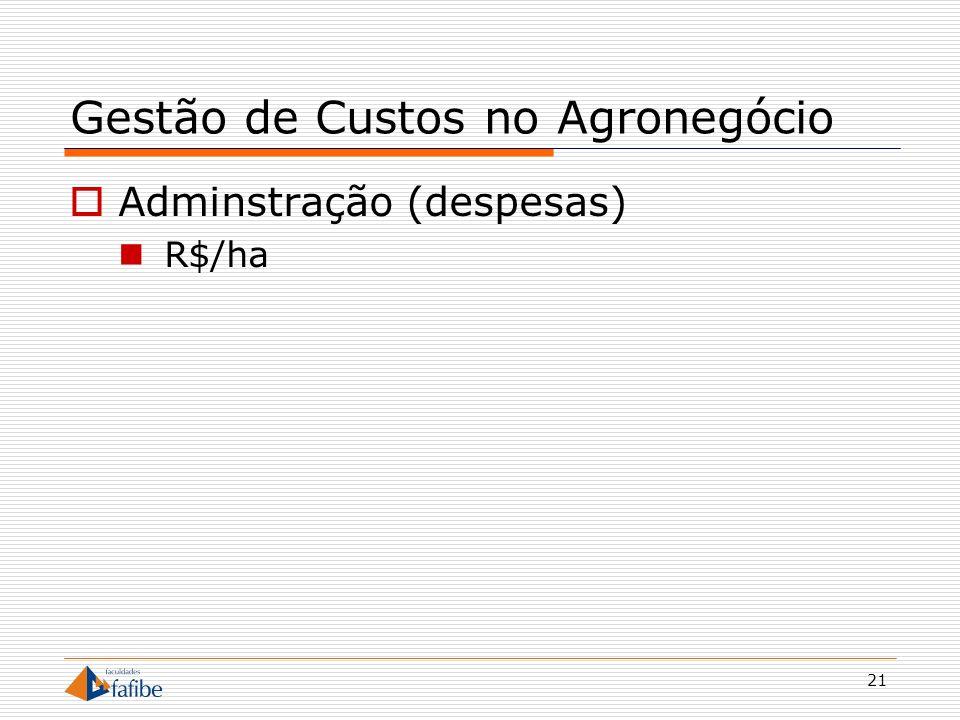 21 Gestão de Custos no Agronegócio Adminstração (despesas) R$/ha
