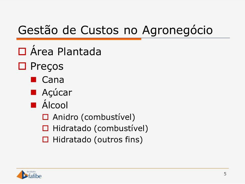 5 Gestão de Custos no Agronegócio Área Plantada Preços Cana Açúcar Álcool Anidro (combustível) Hidratado (combustível) Hidratado (outros fins)
