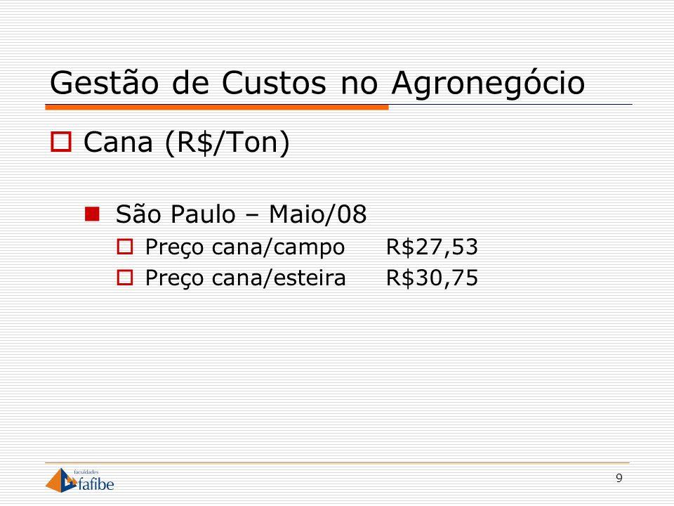 9 Gestão de Custos no Agronegócio Cana (R$/Ton) São Paulo – Maio/08 Preço cana/campoR$27,53 Preço cana/esteiraR$30,75