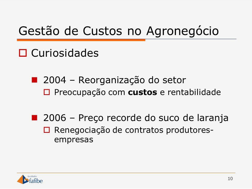 10 Gestão de Custos no Agronegócio Curiosidades 2004 – Reorganização do setor Preocupação com custos e rentabilidade 2006 – Preço recorde do suco de l