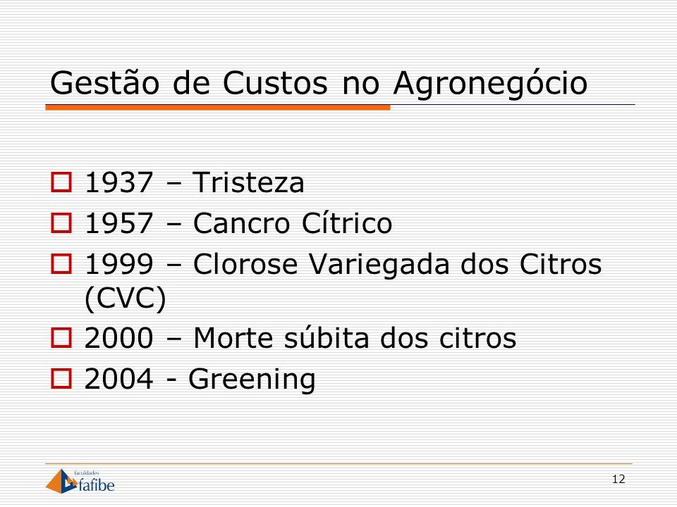 12 Gestão de Custos no Agronegócio 1937 – Tristeza 1957 – Cancro Cítrico 1999 – Clorose Variegada dos Citros (CVC) 2000 – Morte súbita dos citros 2004