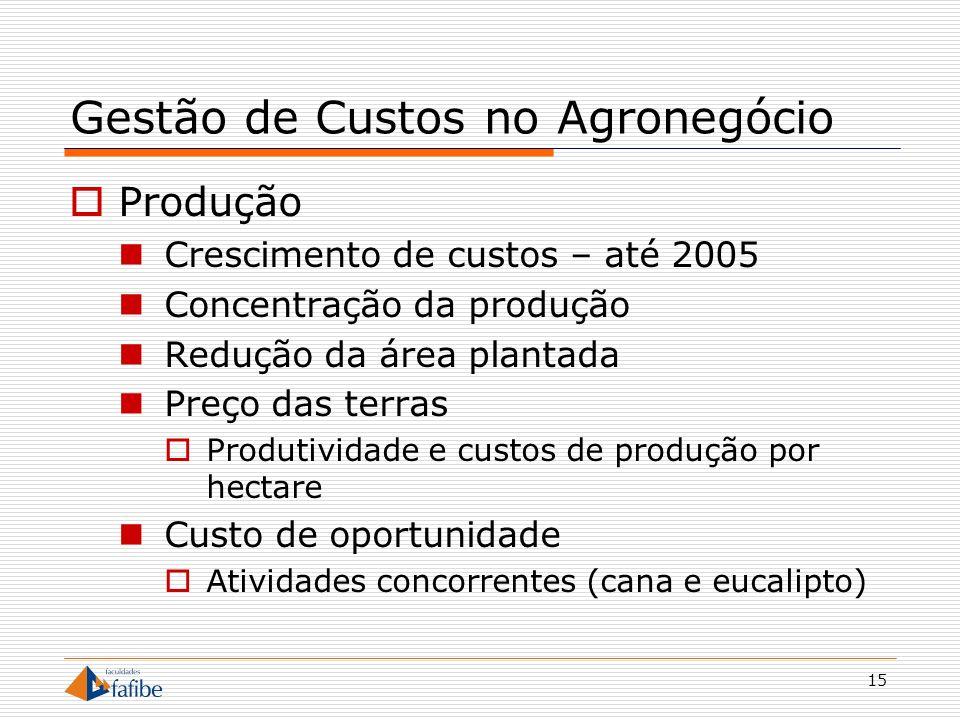 15 Gestão de Custos no Agronegócio Produção Crescimento de custos – até 2005 Concentração da produção Redução da área plantada Preço das terras Produt