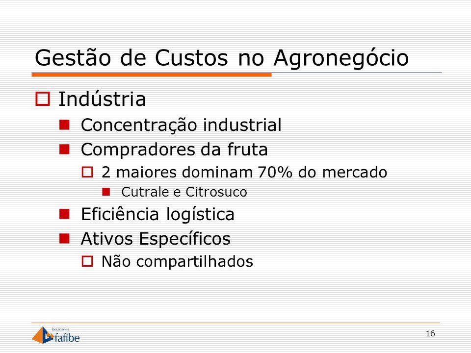 16 Gestão de Custos no Agronegócio Indústria Concentração industrial Compradores da fruta 2 maiores dominam 70% do mercado Cutrale e Citrosuco Eficiên