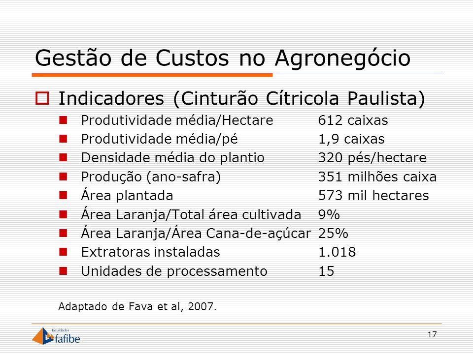 17 Gestão de Custos no Agronegócio Indicadores (Cinturão Cítricola Paulista) Produtividade média/Hectare612 caixas Produtividade média/pé1,9 caixas De