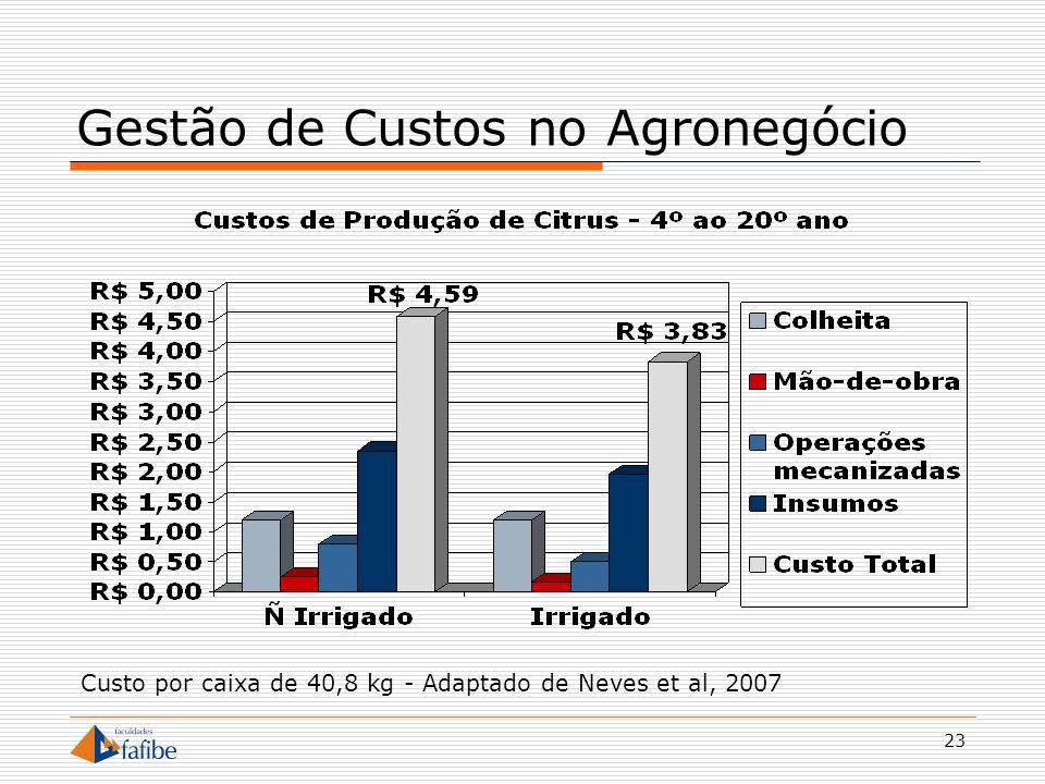 23 Gestão de Custos no Agronegócio Custo por caixa de 40,8 kg - Adaptado de Neves et al, 2007