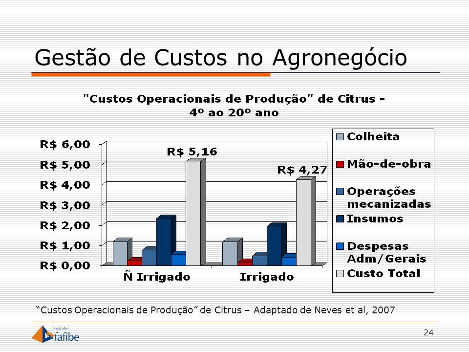 24 Gestão de Custos no Agronegócio Custos Operacionais de Produção de Citrus – Adaptado de Neves et al, 2007