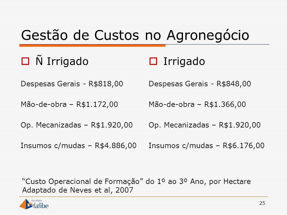 25 Gestão de Custos no Agronegócio Ñ Irrigado Despesas Gerais - R$818,00 Mão-de-obra – R$1.172,00 Op. Mecanizadas – R$1.920,00 Insumos c/mudas – R$4.8