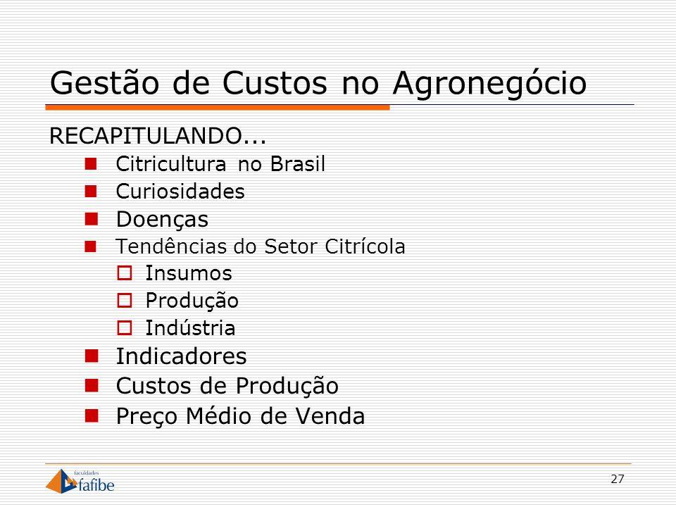 27 Gestão de Custos no Agronegócio RECAPITULANDO... Citricultura no Brasil Curiosidades Doenças Tendências do Setor Citrícola Insumos Produção Indústr