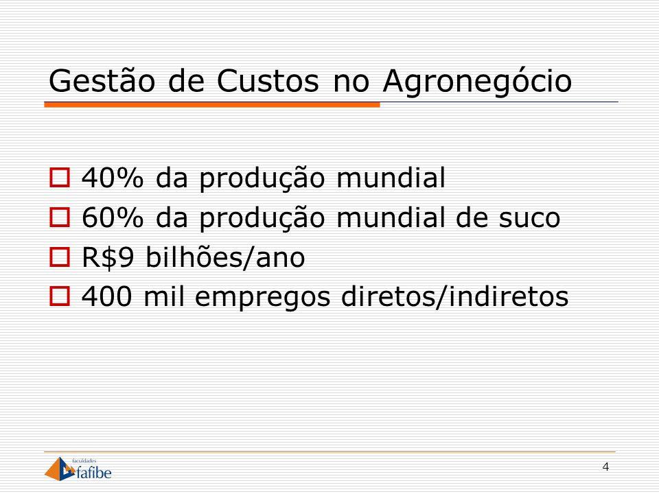 4 Gestão de Custos no Agronegócio 40% da produção mundial 60% da produção mundial de suco R$9 bilhões/ano 400 mil empregos diretos/indiretos