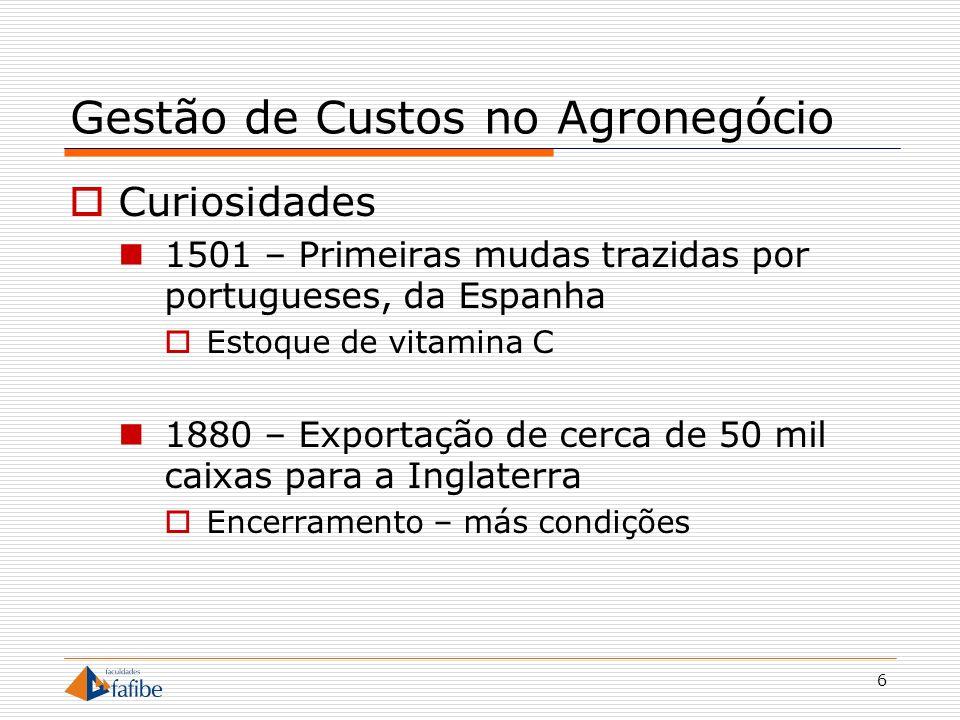 6 Gestão de Custos no Agronegócio Curiosidades 1501 – Primeiras mudas trazidas por portugueses, da Espanha Estoque de vitamina C 1880 – Exportação de