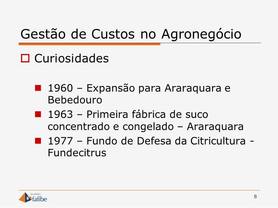 8 Gestão de Custos no Agronegócio Curiosidades 1960 – Expansão para Araraquara e Bebedouro 1963 – Primeira fábrica de suco concentrado e congelado – A