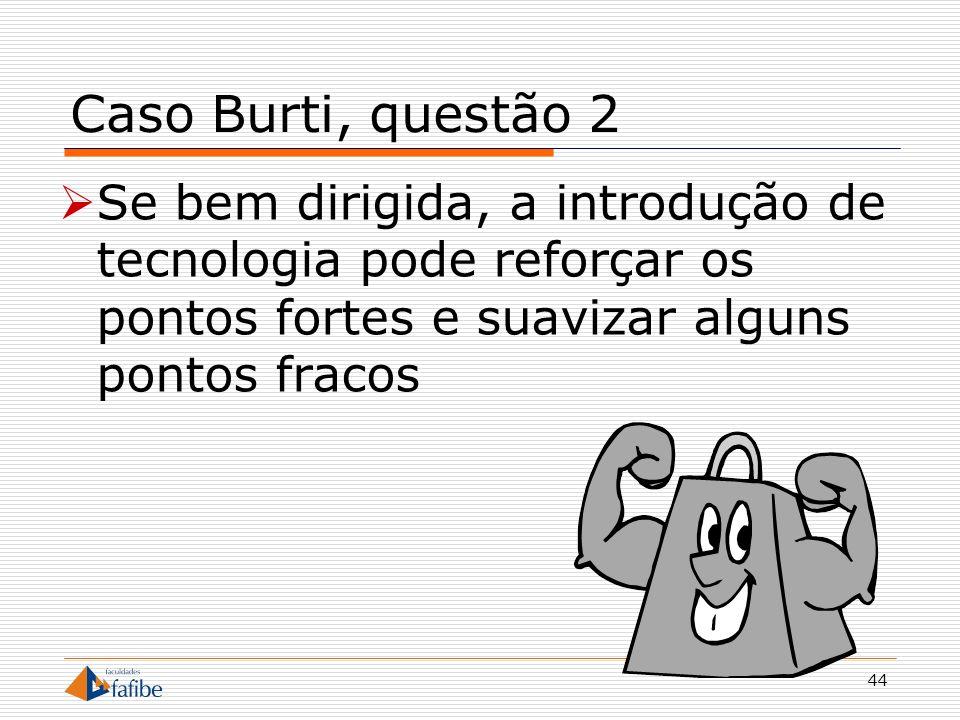 45 Caso Burti, questão 3 Onde está, de fato, o diferencial competitivo em uma inovação tecnológica?