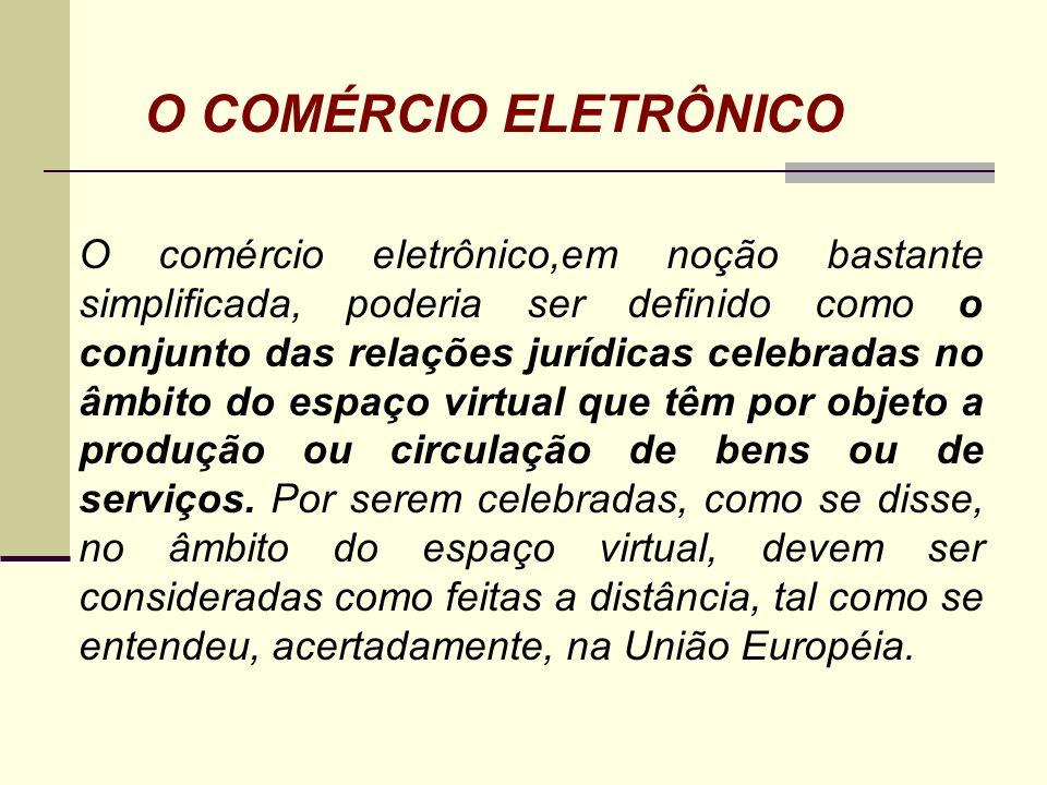 O COMÉRCIO ELETRÔNICO O comércio eletrônico,em noção bastante simplificada, poderia ser definido como o conjunto das relações jurídicas celebradas no