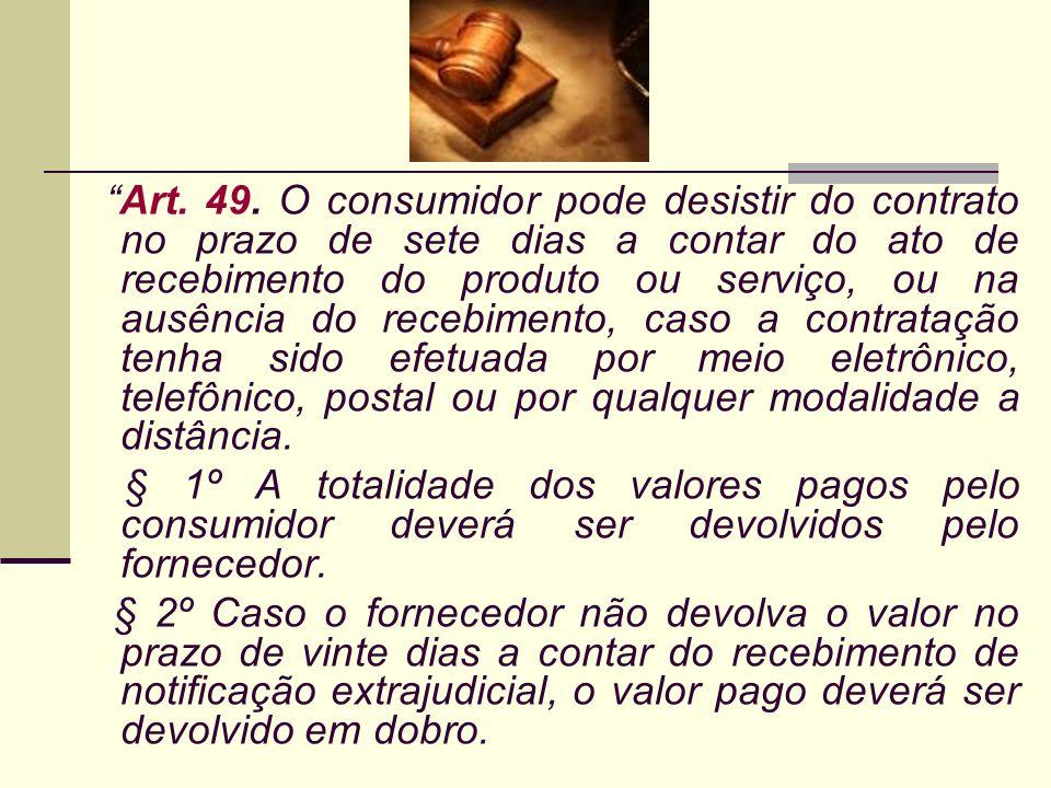 Art. 49. O consumidor pode desistir do contrato no prazo de sete dias a contar do ato de recebimento do produto ou serviço, ou na ausência do recebime